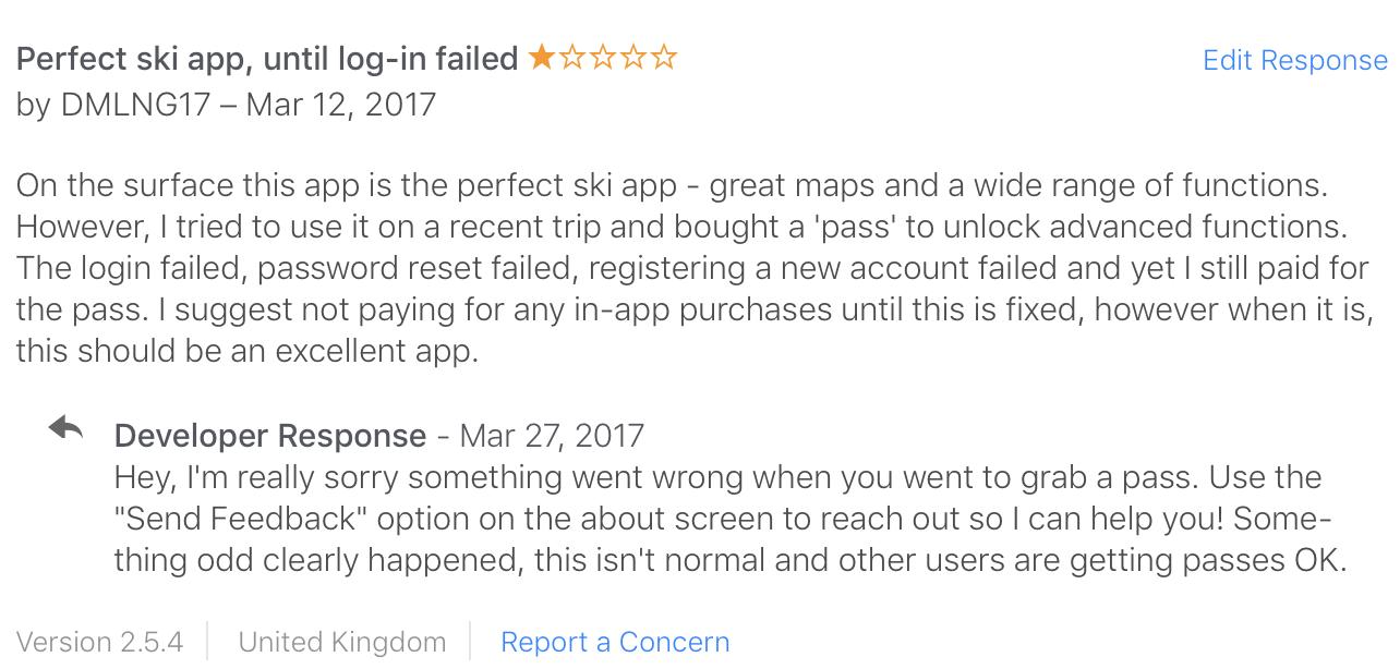 Slopes Diaries #19: App Store Review Replies — Curtis Herbert